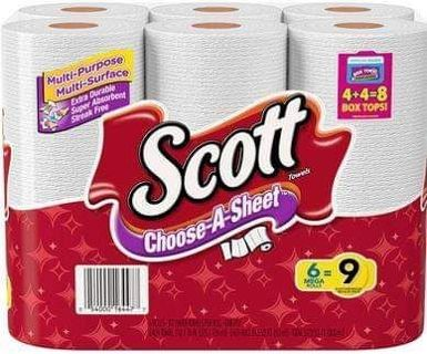 ✔ 6= 9 ROLLS ' SCOTT PAPER TOWELS ~ PICK A SHEET ✔