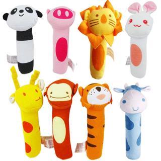 Newborn Baby Animal Plush Handbells Soft Toy Sound Squeeze Shaking Bell Rattle