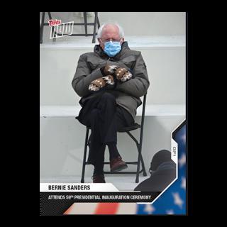 Topps Now Bernie Sanders Mittens Inauguration Card