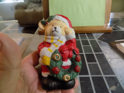 Bisque tan bear in Santa suit holding a wreath 4 1/2 tall