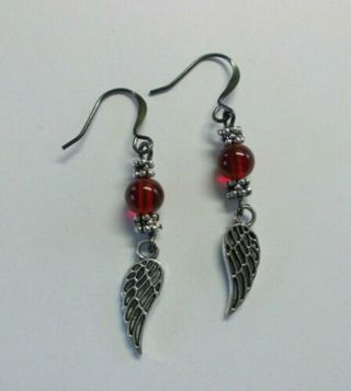 Angel Wings Red Glass Beaded Dangle Earrings NEW Handmade