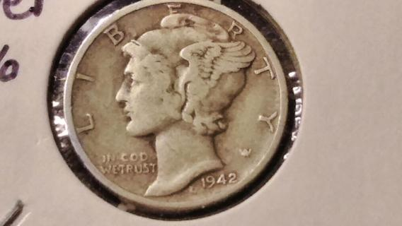 1942-D Mercury Winged Liberty Silver Dime Coin Denver Colorado Mint - Rare Detailed Coin