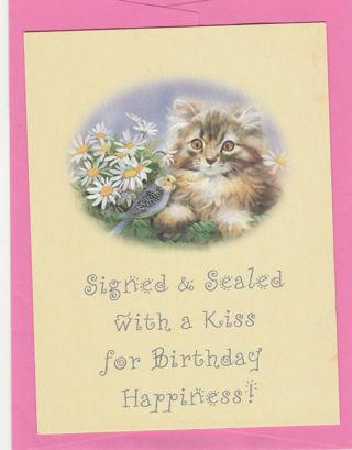 Birthday Card Unused With Envelope Cute Cat