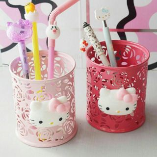 Kitty Storage Organizer Hollow Pen Case Pencil Stand Container Stationary Holder