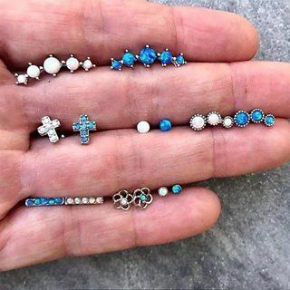 14 Pcs/set Women's Fashion Gem Beads Crystal Cross Flower Silver Earrings Set Bohemian Vintage