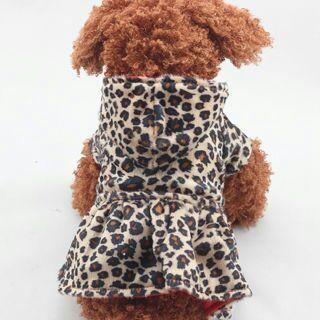 Pet Dogs Cat Princess Leopard Coat Puppy Hoodie Cotton Winter Warm Tutu Dress