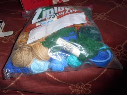 One Zip Locked Bag of Plastic Canvas Yarn