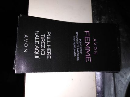 Avon FEMME COLOGNE STRIP SAMPLES --WINNER WILL RECEIVE 5 Samples