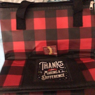 Brand New: Zip Top Black/Red Checked Insulated Bag w/Pocket. Gr8 For Shopping, Outings, etc.