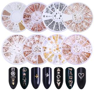 Rose Gold 3D Nail Decoration in Wheel Geometry Plated Metal Nail Studs Manicure Circle Star Round
