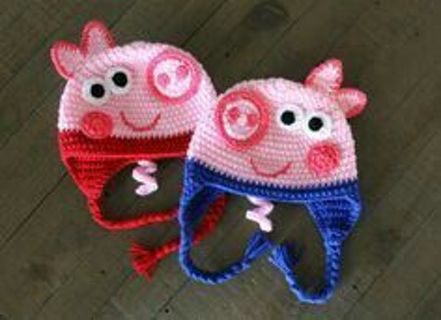 Peppa pig or George crocheted hat FREE SHIPPING