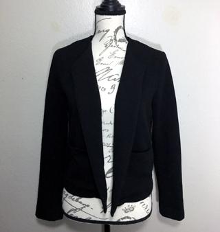 MNG Mango Casual Womens BLACK Textured Long Sleeve Open Blazer Jacket SMALL