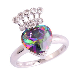 Heart Cut AAA Rainbow & White Topaz Gemstone Silver Ring Size 7 8 9 10 11 Unique