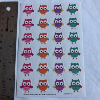 Ꮘ Kawaii Colorful Owls Sticker Sheet BRAND NEW Ꮘ