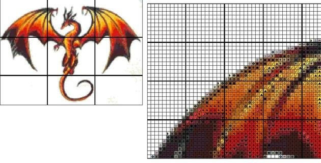 Free Dragon 3 Patterns Cross Stitch Pattern Email Only