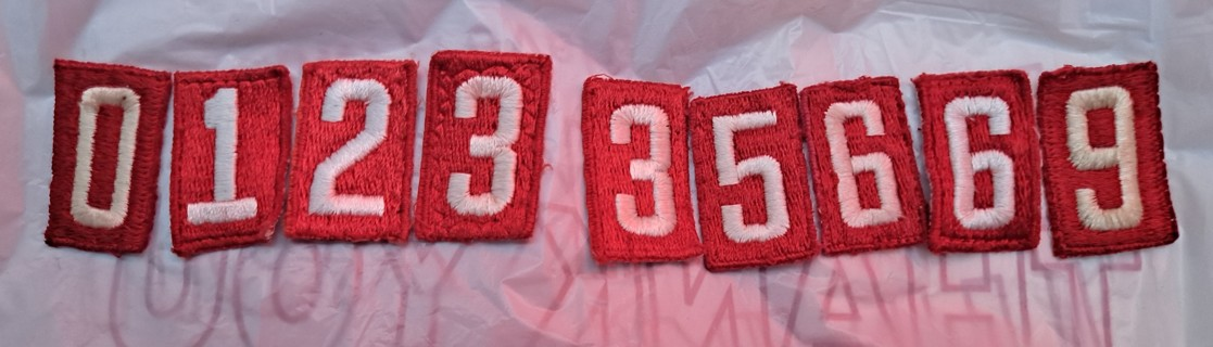 Boy Scout Scout BSA older red and white numerals number patches