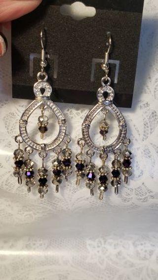 Chandelier Earrings ♡♡ Mystic purple & silver Swarovski crystals ♡♡