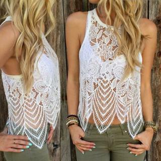 Women Lace Crochet Vest Tank Tops Sleeveless Summer Casual Blouse Shirt Tops