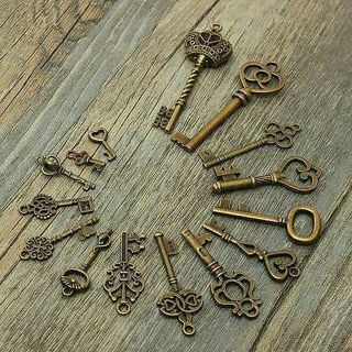 [GIN FOR FREE SHIPPING] 15 Assorted Antique Vintage Old Keys Bronze Crown Bow Pendants