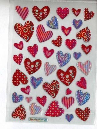 Shiney Epoxy Heart Stickers # 1