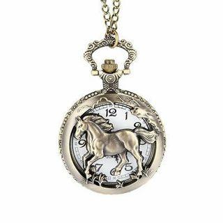 Vintage Horse Hollow/Carved Quartz Pendant Necklace Unisex Fob Pocket Watch Gift