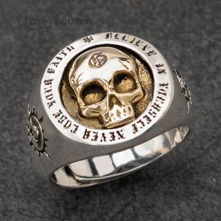 [GIN FOR FREE SHIPPING] Silver Color Gold Heavy Sugar Pirate Skull Ring