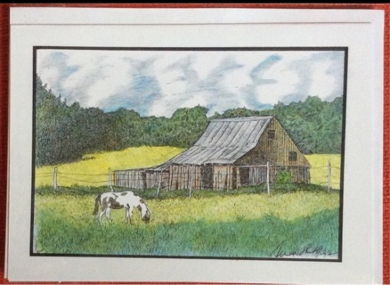 "BARN WITH PINTO - 5 x 7"" art card by artist Nina Struthers - GIN ONLY"