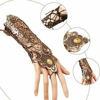 Sexy Women Ladies Steampunk Goth Party Costume Kitted Lace Long Gloves LCTY