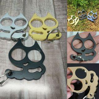 Fashion cat keyring personal self defense metal key rings gift 3 color