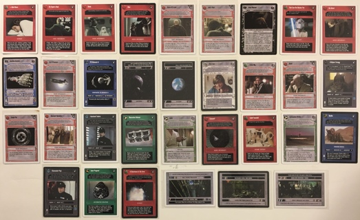 Star Wars CCG Decipher 33 Trading Card Game Lot 1995 / 1997 Vader, Jedi Test, Corellian Corvette