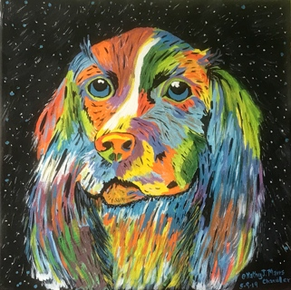 Vibrant Dog Painting Print by Kathy Marrs Chandler