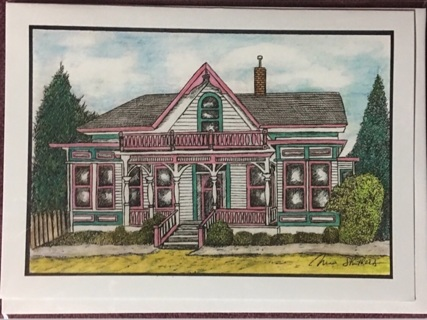 """WHITE & PINK BUNGALOW - 5 x 7"""" Art Card by artist Nina Struthers - GIN ONLY"""