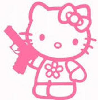 HELLO KITTY LOOKALIKE SECOND AMENDMENT RIGHT TO BEAR ARMS DECAL BUMPER STICKER WATERPROOF VINYL
