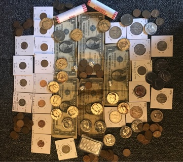 HUGE COIN LOT!EVERYTHING from Silver bars, coins, notes, halfs!Adding more items until sold!