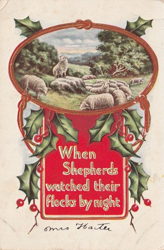 Vintage Used Postcard: Embossed: 1913 When Shepherds Watch Their Flock at Night