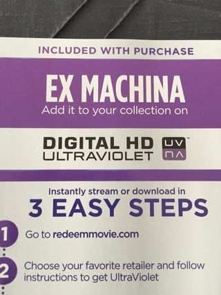 Free: EX MACHINA SD ULTRAVIOLET DIGITAL COPY CODE - Other DVDs
