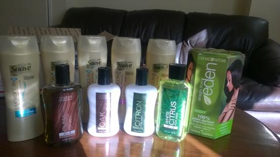 Huge Stuffed Box!!! Bath & Body Works (for men) &(5) Suave Shampoos & Eden Hair Straightening system