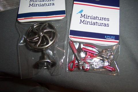 miniature items metal fan & tools