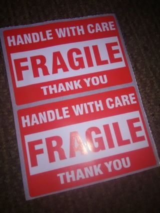 "2ct ""Fragile"" Packaging Label Stickers"