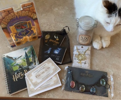 Harry Potter lot- notebook- view master- Floo powder- stickers- necklace- bracelet-tickets