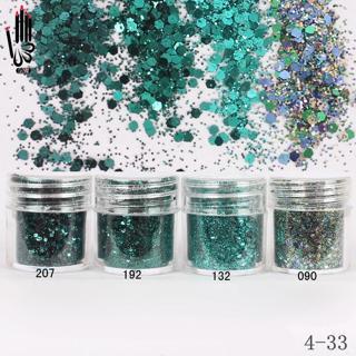 Nail Art 1 Jar/Box 10ml Nail 4 Dark Green Color Mix Nail Glitter Powder Sequin Powder For Gel Nail