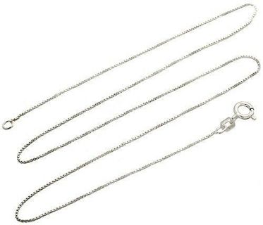 Sterling Silver Necklace BOX Chain Solid 925 Italy 1mm