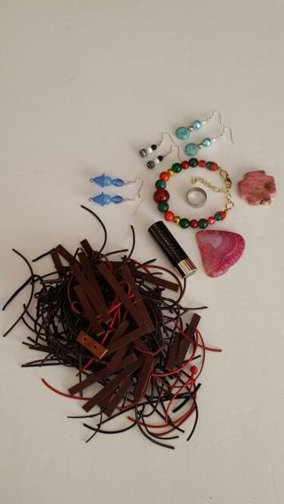 Mixed Lot Anastasia Beverly hills Lipstick Fresh Genuine Leather strips and handmade jewelry