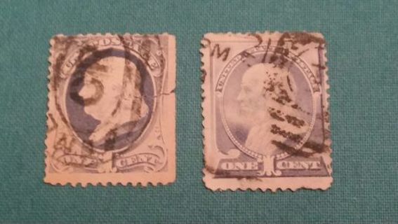 1875 Scott 167 Rare 1883 Benjamin Franklin 1 Cent Stamp Lot