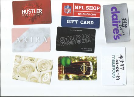 GIFTCARDS $103.20 TOTAL PHYSICAL GIFT CARDS LOT [$103.20] FREE SHIPPING