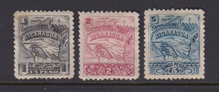 Three Nicaragua Postal Stamps - MH - OG