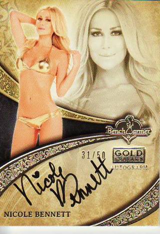 NICOLE BENNETT 2013 BENCHWARMER GOLD EDITION PREMIUM THICK AUTOGRAPHED SIGNED CARD /50