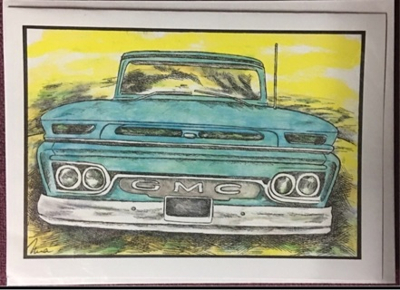 "AQUA GMC PICK UP - 5 x 7"" art card by artist Nina Struthers - GIN ONLY"