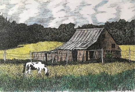 """Barn with Pinto - 5 x 7"""" art card by artist Nina Struthers - GIN ONLY"""