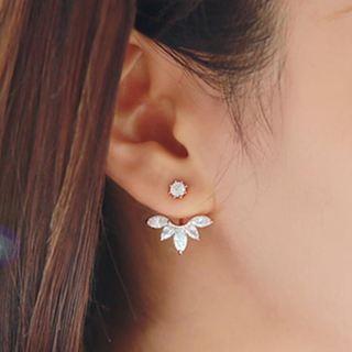 New Crystal Ear Cuff Clip Leaf Stud Earrings For Women Jacket Piercing Earrings